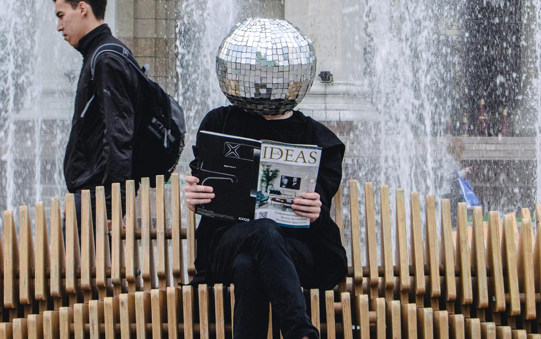 girl with disco ball head
