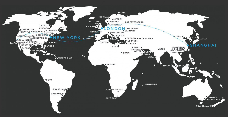 new york to london to shanghai