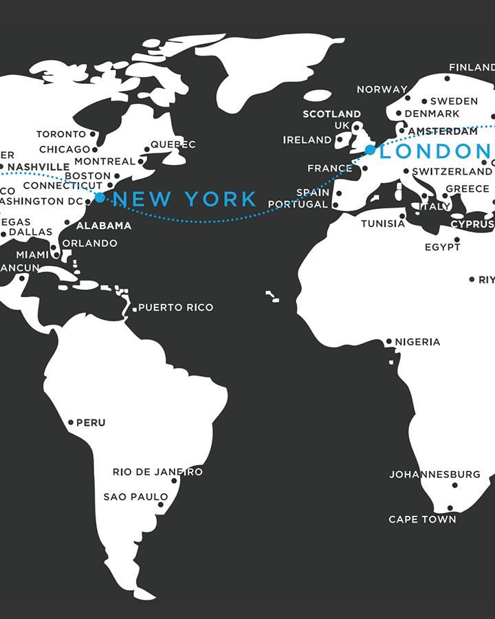 new york to london flight path