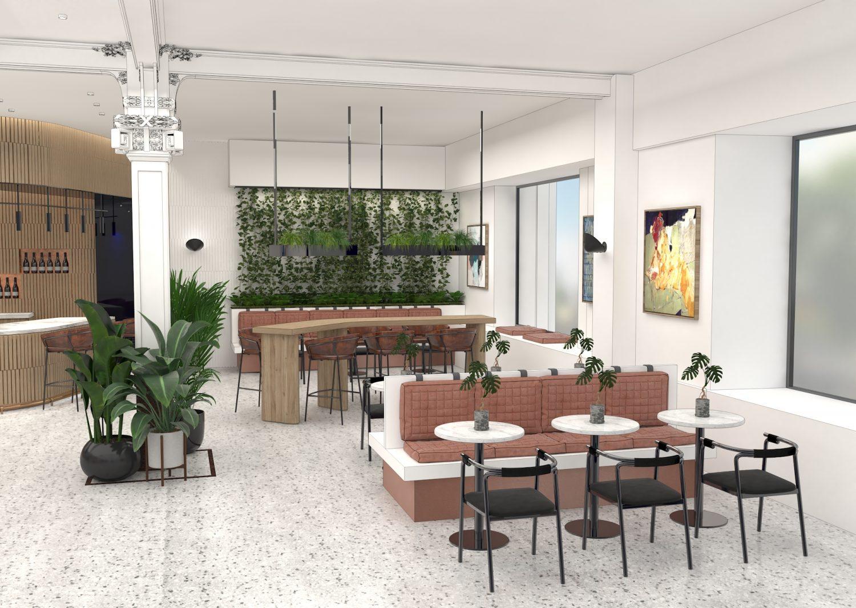 Sheridan&Co TBC Bank Interior Design first floor cafe